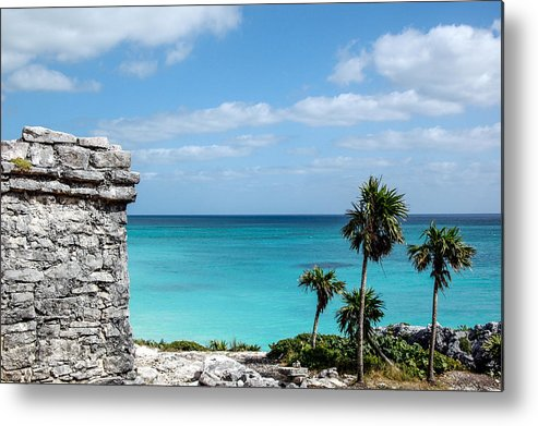 Blue Metal Print featuring the photograph Ruins At Tulum by Josh Whalen