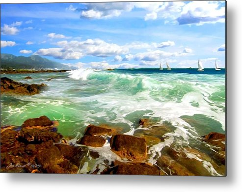 Hawaii Metal Print featuring the digital art Sailing Beyond The Bay by Jon David