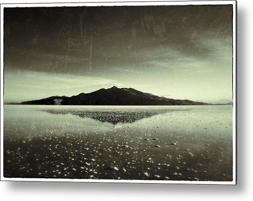 Salt Flat Metal Print featuring the photograph Salt Cloud Reflection Black And White Vintage by For Ninety One Days