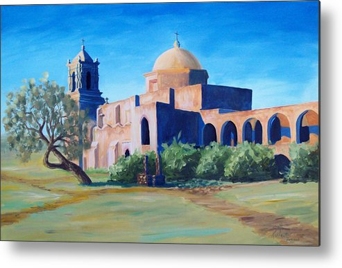 Landscape Metal Print featuring the painting San Antonio Mission by Scott Alcorn