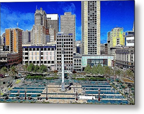 San Francisco Metal Print featuring the photograph San Francisco Union Square 5d17938 Artwork by Wingsdomain Art and Photography