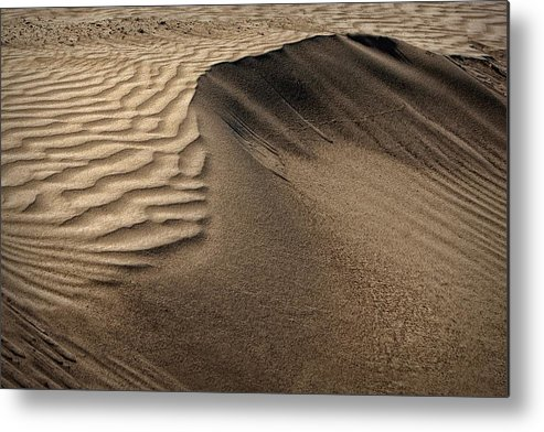 Abstract Metal Print featuring the photograph Sand Pattern Abstract - 2 by Nikolyn McDonald