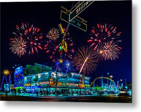 Fireworks Metal Print featuring the photograph Saturday Night At Coney Island by Chris Lord