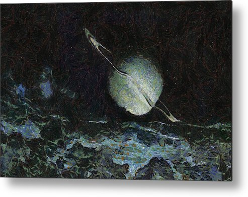 Planet Metal Print featuring the painting Saturn-y by Inspirowl Design