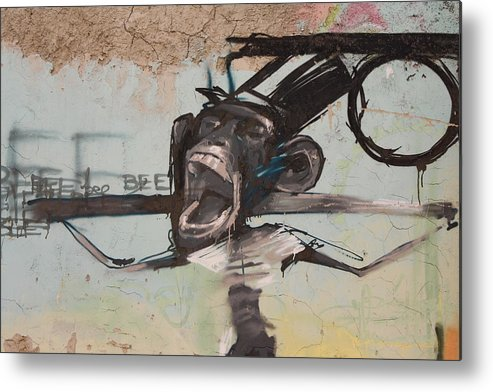 Monkey Metal Print featuring the photograph screaming Monkey by Jan Katuin