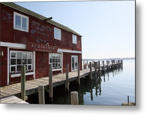 Scrimshaw Restaurant Metal Print featuring the photograph Scrimshaw Greenport New York by Bob Savage