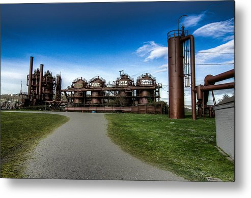 2012 Metal Print featuring the photograph Seattle Gas Light Company Gasification Towers by Puget Exposure
