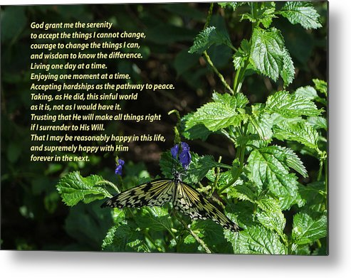 Serenity Prayer - Long Form With Butterfly Metal Print by Jeanette ...
