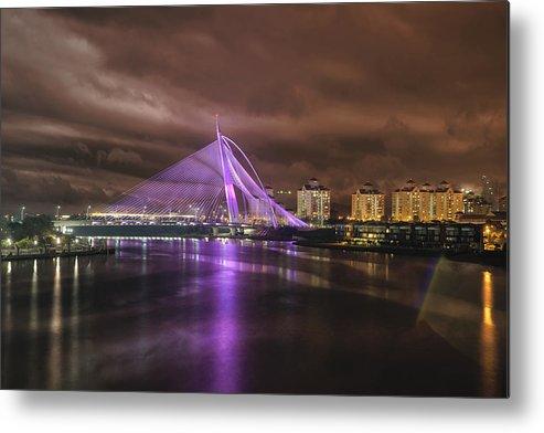 Seri Wawasan Bridge Metal Print featuring the photograph Seri Wawasan Bridge At Night by Jit Lim