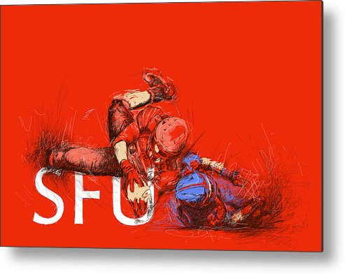 Sports Metal Print featuring the painting Sfu Art by Catf
