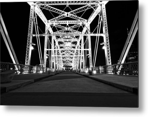 Shelby Street Bridge At Night In Nashville Metal Print featuring the photograph Shelby Street Bridge At Night In Nashville by Dan Sproul