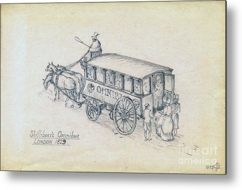 Bus Metal Print featuring the drawing Shillibeers Omnibus by John Chatterley