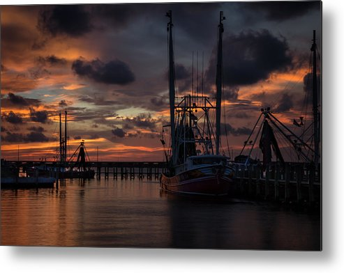 Metal Print featuring the photograph Shrimp Boat Sunset by Ron Maxie