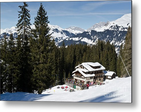 Mountains Metal Print featuring the photograph Ski Und Berghaus Schifer Davos Parsenn Klosters Land by Andy Smy