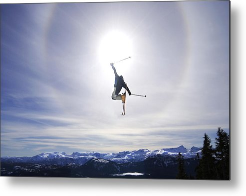 Light Metal Print featuring the photograph Skier Jumping, Courtenay, Bc by Josh McCulloch