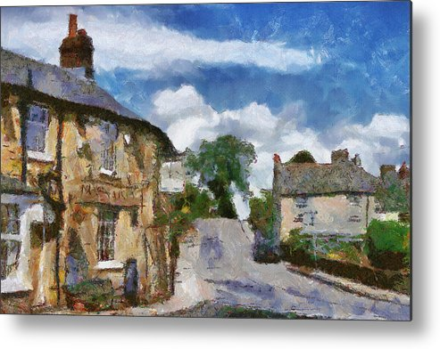 Street Metal Print featuring the painting Small Town Street by Ayse Deniz