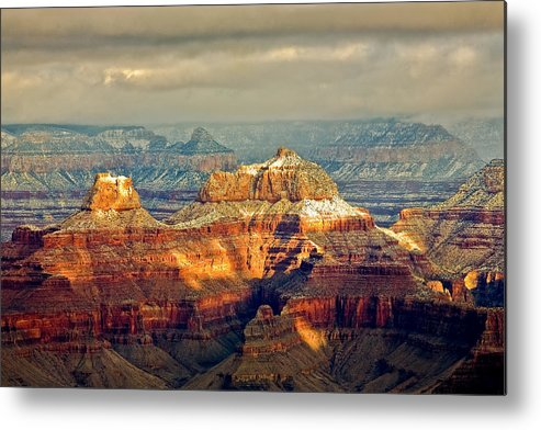 Grand Canyon National Park Photographs Metal Print featuring the photograph Snow Temples by David Forster