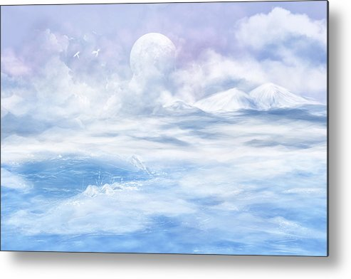 Fantasy Metal Print featuring the glass art Snow Valley by Nika Lerman