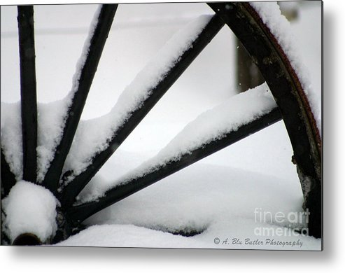 Snow Metal Print featuring the photograph Snow Wheel by Ann Butler