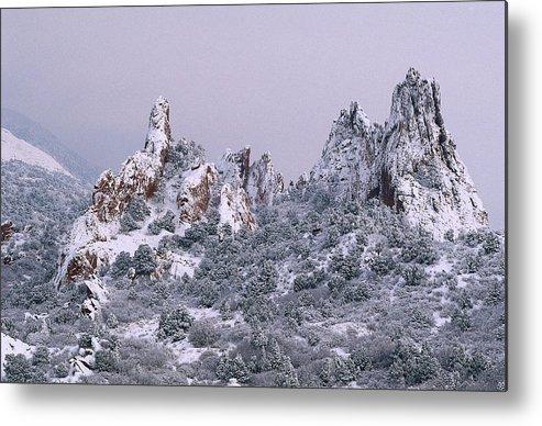 Snowfall Garden Of The Gods Colorado Springs Co Metal Print