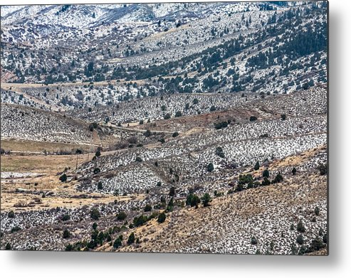 Colorado Metal Print featuring the photograph Snowy Foothills by Karen Saunders