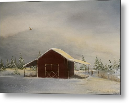 Snow Metal Print featuring the painting Snowy Red Barn by Katrina Nixon