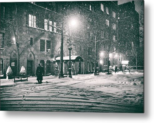 New York Metal Print featuring the photograph Snowy Winter Night - Sutton Place - New York City by Vivienne Gucwa