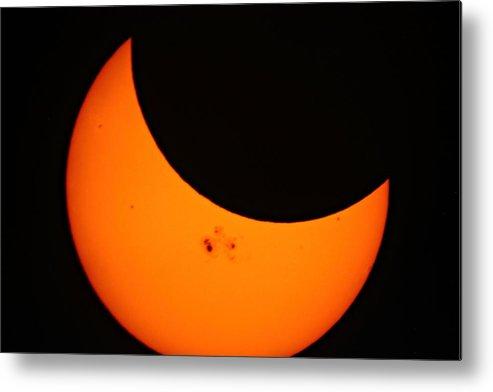 Solar Metal Print featuring the photograph Solar Eclipse 2014 by Marcelo Albuquerque