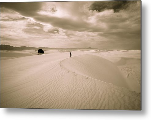 White Sands National Monument Metal Print featuring the photograph Solitary Journey by JL Griffis