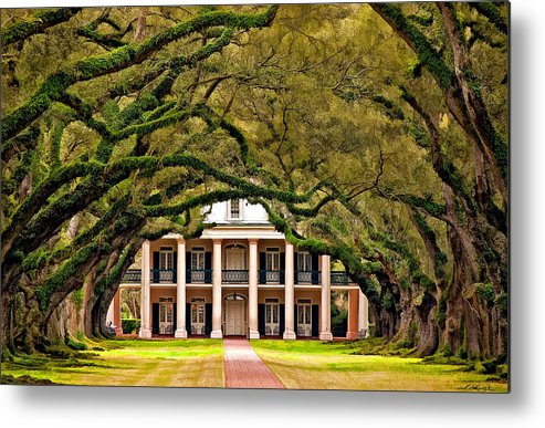 Oak Alley Plantation Metal Print featuring the photograph Southern Class Painted by Steve Harrington