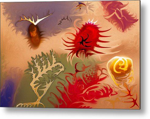 Blue Metal Print featuring the painting Spirits And Roses by Omaste Witkowski