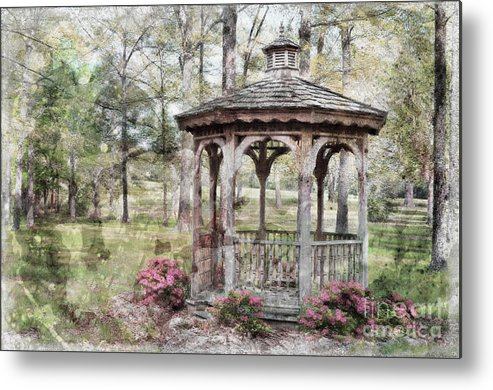 Nature Metal Print featuring the photograph Spring Gazebo Painteffect by Debbie Portwood