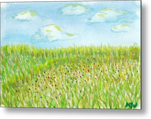 Grass Metal Print featuring the painting Spring Hill by Andrew Worley