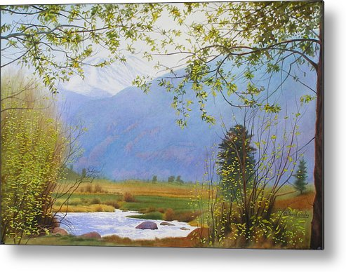 Watercolor Metal Print featuring the painting Springtime Moraine Park by Daniel Dayley