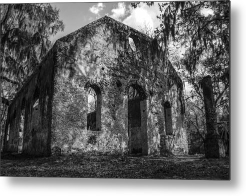 Chapel Of Ease Metal Print featuring the photograph St Helena Chapel Of Ease Bw 3 by Steven Taylor