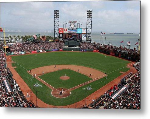 San Francisco Metal Print featuring the photograph St. Louis Cardinals V. San Francisco by Brad Mangin