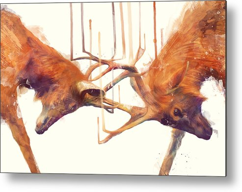 Stags Metal Print featuring the painting Stags // Strong by Amy Hamilton