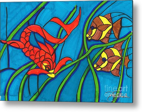 Markers Metal Print featuring the drawing Stained Glass by Bill Richards