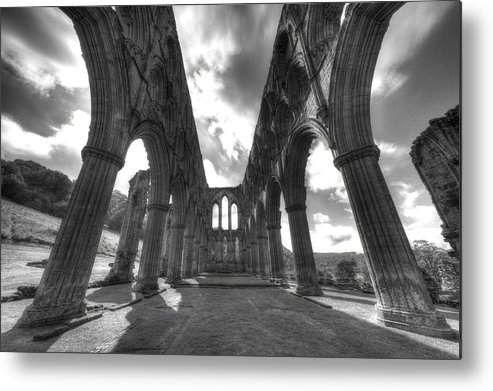 Black And White Metal Print featuring the photograph Standing Against Time by Mara Acoma