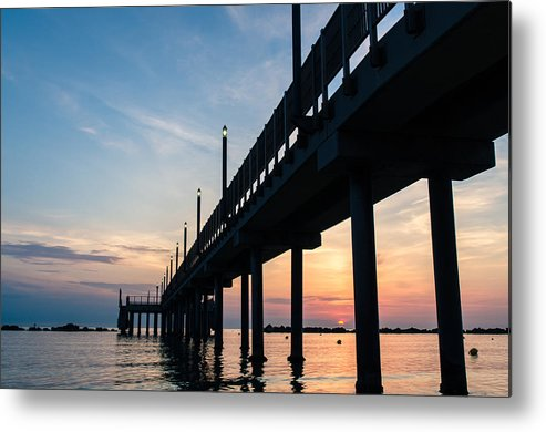 Staring At The Sun Metal Print featuring the photograph Staring At The Sun - Sunrise On The Beach by Andrea Mazzocchetti