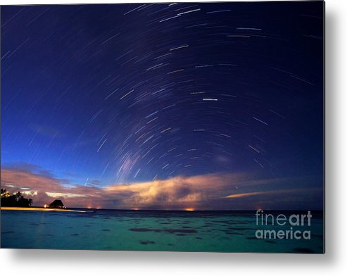 Maldives Metal Print featuring the photograph Starry Night On Tropical Resort by Anna Om
