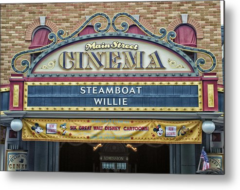 Disney Metal Print featuring the photograph Steam Boat Willie Signage Main Street Disneyland 01 by Thomas Woolworth