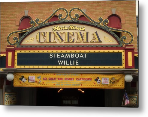Disney Metal Print featuring the photograph Steam Boat Willie Signage Main Street Disneyland 02 by Thomas Woolworth