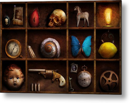 Steampunk Metal Print featuring the photograph Steampunk - A Box Of Curiosities by Mike Savad