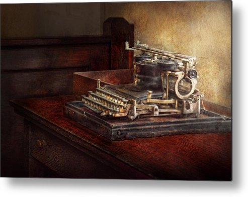 Steampunk Metal Print featuring the photograph Steampunk - A Crusty Old Typewriter by Mike Savad