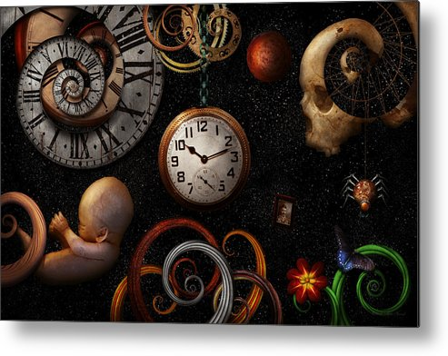 Time Metal Print featuring the photograph Steampunk - Abstract - The Beginning And End by Mike Savad
