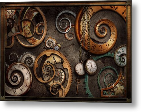 Steampunk Metal Print featuring the photograph Steampunk - Abstract - Time Is Complicated by Mike Savad