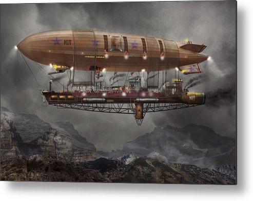 Savad Metal Print featuring the photograph Steampunk - Blimp - Airship Maximus by Mike Savad