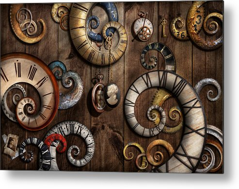 Savad Metal Print featuring the photograph Steampunk - Clock - Time Machine by Mike Savad