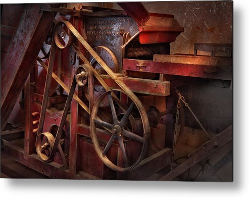 Steampunk Metal Print featuring the photograph Steampunk - Gear - Belts And Wheels by Mike Savad